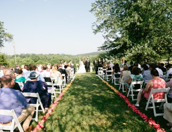 Wedding ceremony near large tree with green leaves with bride in white dress and groom in black suit