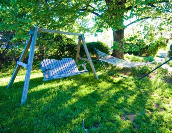 Wooden swing and hammock sitting in green grass under large tree with green leaves