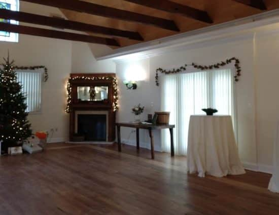 Large room with hardwood flooring, fireplace in the center, and Christmas tree with gifts