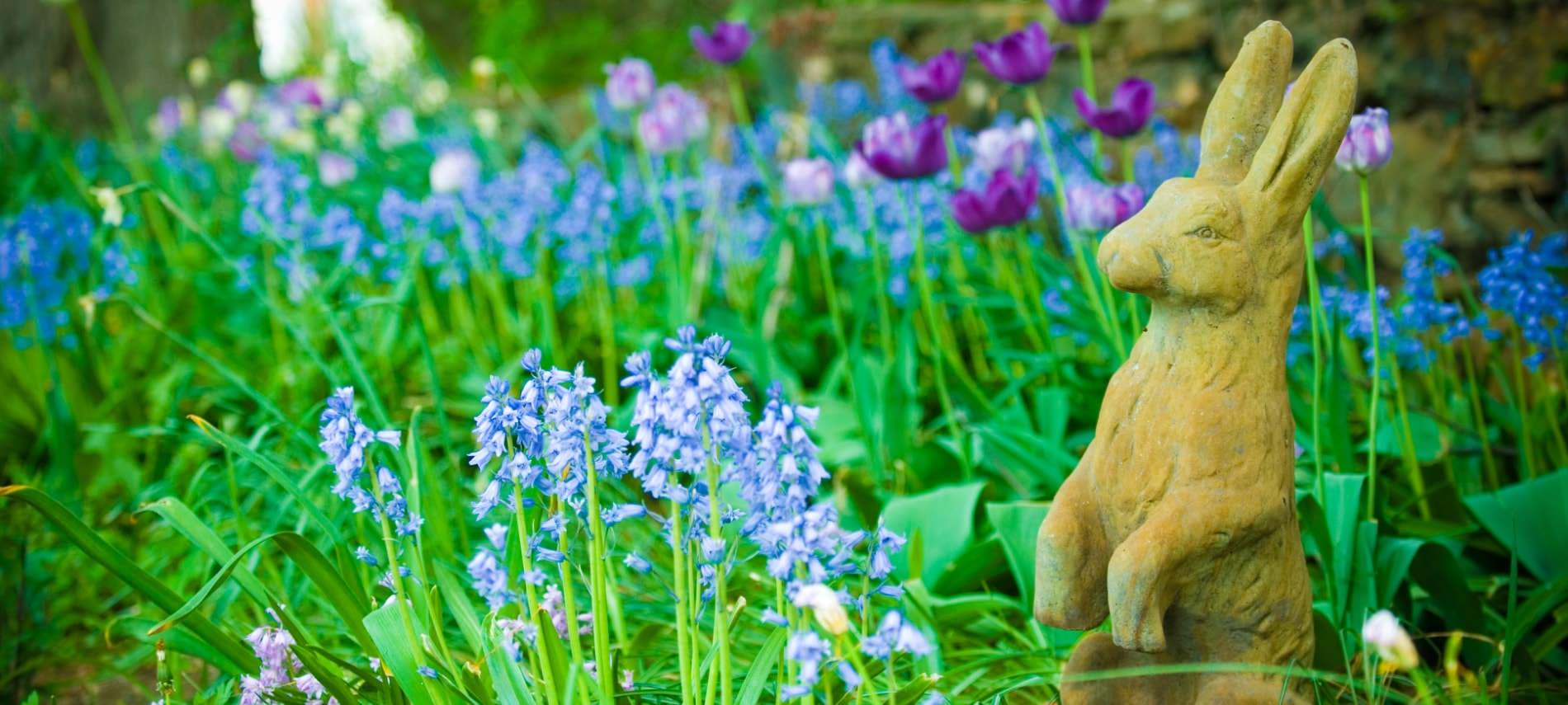 Stone statue of a rabbit surrounded by blue and purple flowers and green grass