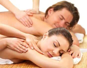 Man and woman enjoying massages