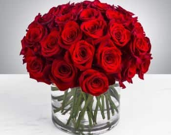 Large bouquet of red roses in glase vase