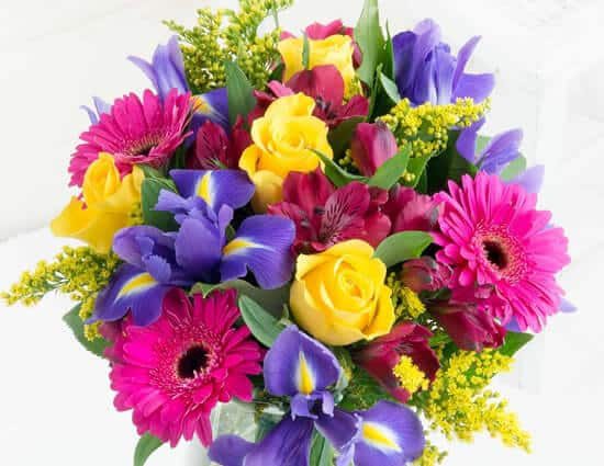 Large bouquet of pink, purple, and yellow flowers