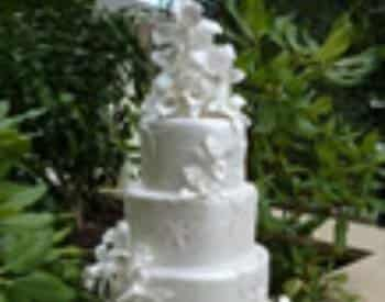 White wedding cake decorated with white flowers